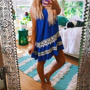 Entro Anthropologie Cobalt Blue Gypsy Dress